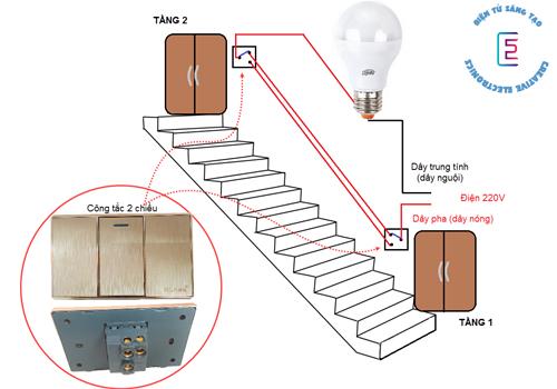 Sơ đồ lắp đặt mạch điện cầu thang